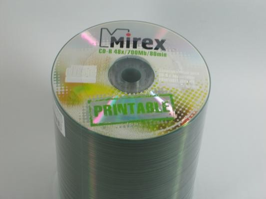 Компакт-диск Mirex printable inkjet CD-R80/700MB 48x Bulk (цена за 1 шт., продажа спайкой по100шт.)