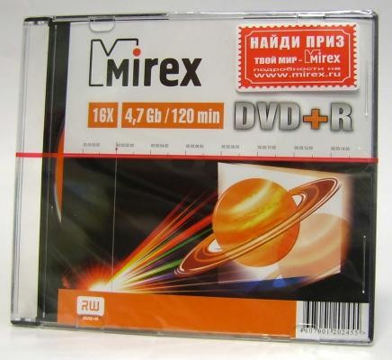 DVD+R Mirex 16x, 4.7Gb Slim