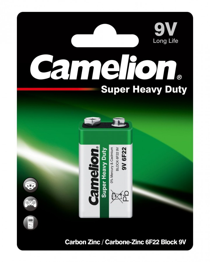 Элемент питания Camelion HEAVY DUTY Green 6F22 BL1