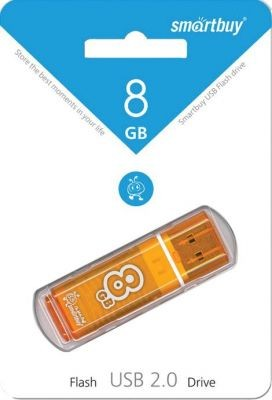 Флэш-диск USB 8Gb SmartBuy Glossy  Orange SB8GBGS-Or (1107)
