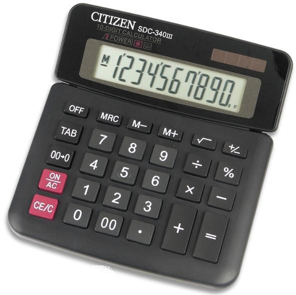 Калькулятор CITIZEN бухг. SDC-340 III 10 разряд. регулир.накл.диспл. DP 10202